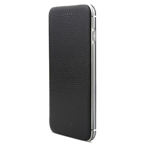 VAPIAO Echtleder Schutzhülle Lederschutzhülle Aluminium Hard Back Flip Cover TPU Case für iPhone 6, 6s in Schwarz