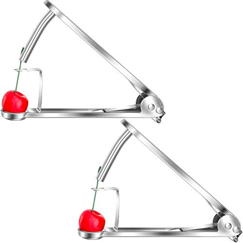 2 Pieces Cherry Pitter Stainless Steel Cherry Stone Remover Tool Portable Cherry Core Olive Pitter with Lock Design for Cherry Red Dates Hawthorn Kitchen Supplies