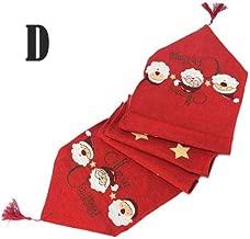 Angelsun 33180cm Rectangle Linen Cotton Satan Clause/Elk/Snow Man Table Runner for Home Party Christmas Festival Decoration