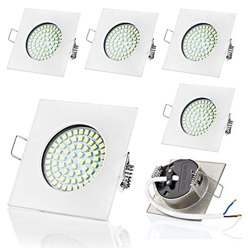 Sweet led® SW-68N Lot de 6 spots LED plats encastrables | 400 lm | 3,5 W | 230 V (carré, blanc, blanc froid)