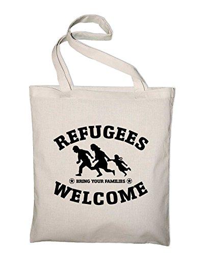 Refugees Welcome Logo Jutebeutel Baumwolltasche, natur