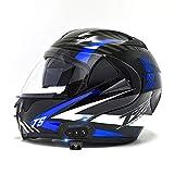 Casco Moto Modular Cascos Flip Up Motocicleta con Doble Visera Anti Niebla HD ECER 22-05 Aprobado Bluetooth Incorporado ABS Duro Calentar Buen Sellado para Adultos 53-62cm
