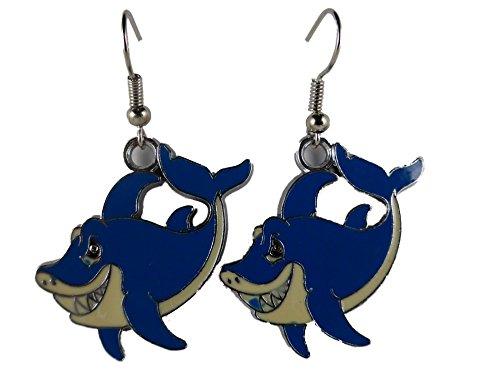 Ohrringe Ohrhänger Hänger silberfarben blau Wal Meer Wasser Aquarium 7866
