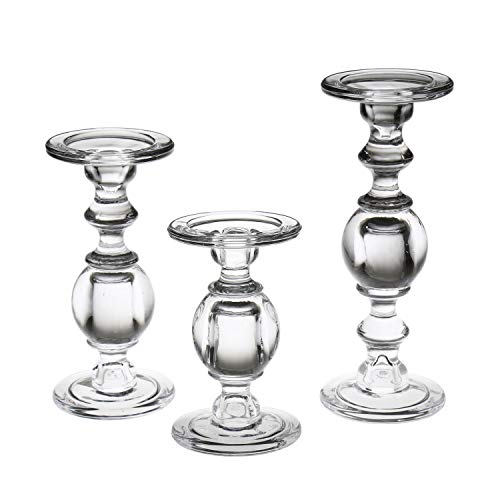 Fits 3 Inch Diameter Candles Large Silver Metal Stands in 6 Centerpieces or Home Decor Pedestal Design for Holiday Decoration LampLust Pillar Candle Holder Set of 3 8 /& 10 Tall Heights