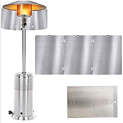 Heat Focusing Reflector, Patio Heater Reflector Shield, for Round Natural Gas and Propane Patio Heaters, Portable Foldable Patio Heater Reflector Shield