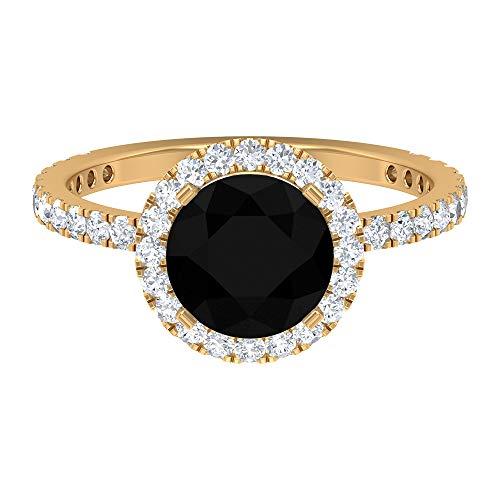 Anillo de compromiso con halo de 2,75 CT para mujer con diamante negro creado en laboratorio y detalles de moissanita (8 mm de forma redonda, 14K Oro amarillo, Size:EU 52