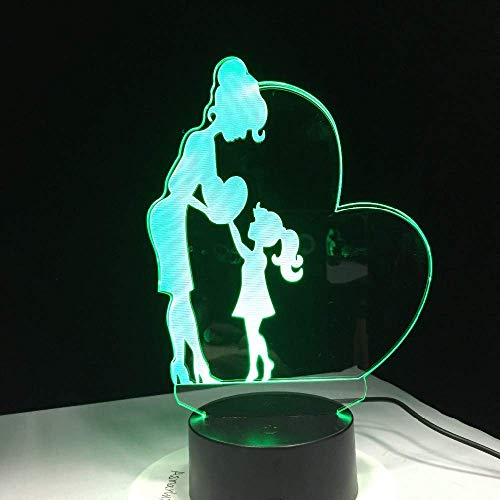 Regalos para el Día de la Madre Love Mom 3D LED Lámpara 7 colores Cambiar Night Light Hija Gift Sleep Lamp Family Decor Light