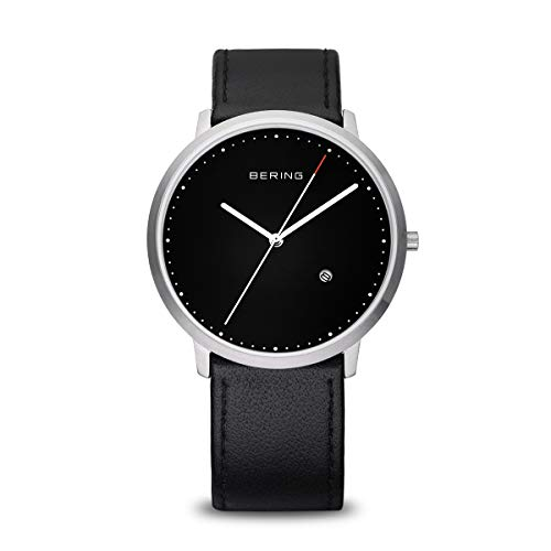 Bering Classic - Reloj analógico de caballero de cuarzo con correa de piel negra - sumergible a 50 metros