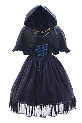 Kawaii-Story JL-578 schwarz Stretch Chiffon Gothic Lolita Cape Bluse Kleid Set Kostüm Dress Cosplay (Stretch M-L)
