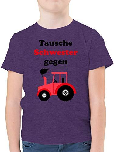 Fahrzeuge Kind - Tausche Schwester gegen Traktor - 140 (9/11 Jahre) - Lila Meliert - Kinder Shirt mit Traktoren - F130K - Kinder Tshirts und T-Shirt für Jungen