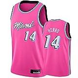 xiaotianshi Jersey de Baloncesto Deportivo de la NBA de los Hombres, Miami Heat # 14 Tyler Herro Jersey, Camiseta de Baloncesto Vintage Resistente al Desgaste Transpirable,Rosado,XL
