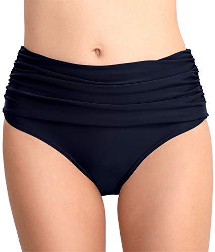 PANAX Damen Mädchen Badehose in Marine, Größe XXL - Urlaub Bikinihose mit Faltendesign Swimwear Tankinihose