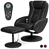 Best Choice Products Faux Leather Electric Massage Recliner Chair for Living Room, Bedroom, Office Comfort w/Stool Footrest Ottoman, Remote Control, 5 Heat & Massage Modes, Side Pockets - Black