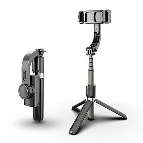 Estabilizador de cardán de mano, equilibrio automático, reducción de temblores con control remoto Bluetooth incorporado, para iPhone Android con soporte para teléfono con trípode plegable para Selfi