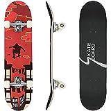 Completo Skateboard 80x20 cm, Monopatín de Madera de Arce para Principiantes, Niñas, Niños, Adolescentes, Adultos, 7 Capas Monopatín de Madera de Arce Canadiense con Rodamientos de Bolas ABEC-7