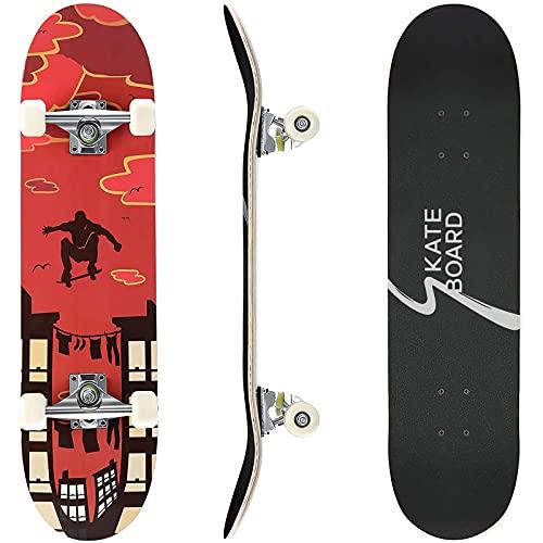 Skateboard Completo, Skateboard 80 x 20 cm Double Kick Deck Concavo, Cuscinetti a Sfera ABEC-7 e 7 Strati in Legno d'Acero Canad,Ruote in PU 85A, Max 100kg