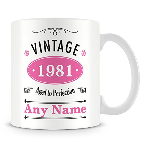 Vintage 1981 Aged to Perfection 40th Birthday Mug. Add any name