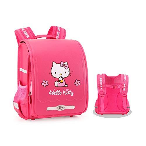 CXJC Hellokitty Schulranzen for Mädchen, Schulranzen for die Klassen 1-3-4, Rucksäcke for Mädchen zur Verringerung der Last der Wirbelsäule Schutz, Schulranzen for 6-10 Jahre alt, hochwertige Polyeste