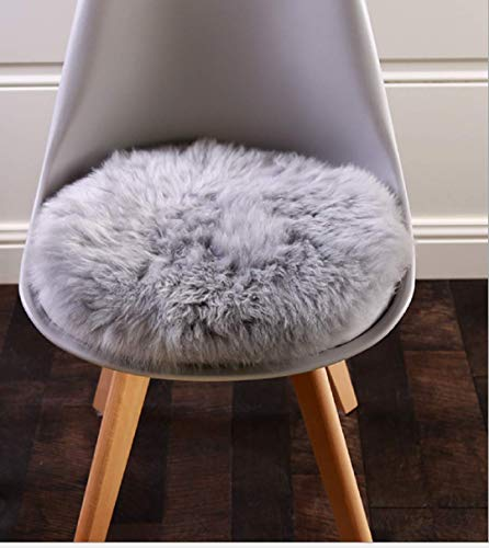 HLZDH faux fur soft fluffy single sheepskin stule Style Rug, Faux Fleece Chair Cover Seat Pad Soft Fluffy Shaggy Area Rugs For Bedroom Sofa Floor (45 X 45 CM Round gray)