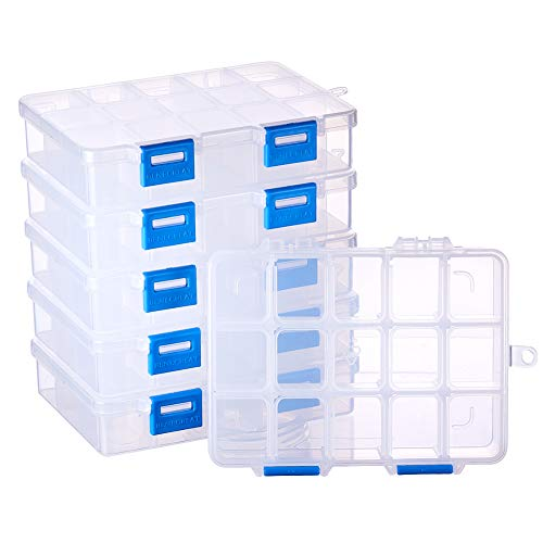 BENECREAT 18 Pack Caja de Contenedores de Almacenamiento de Pl/ástico Transparente con Tapas Abatibles para Articulos Pastillas Hierbas Cuentas Peque/ñas Joyer/ía