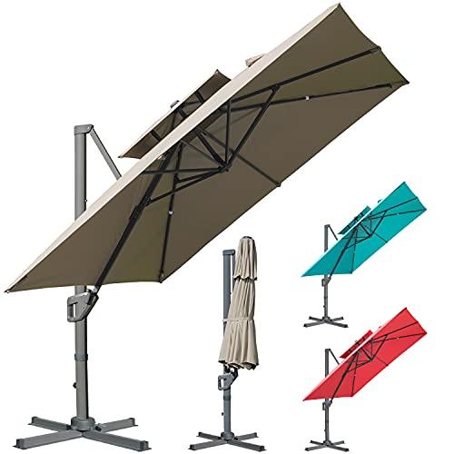 LKINBO 10X10FT Cantilever Patio Umbrella Outdoor Double Top Hanging Offset Umbrella Heavy Duty Outdoor Sun Umbrella With 360 Degree Rotation & Cross Base for Beach Market Garden Pool Backyard(Khaki)