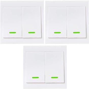 OWSOO RF Funk Wandschalter 2 Gang 86 Typ Licht Schalter EIN/Aus Schalter 433 mhz wandschalter taster mit Aufklebern 3 Stück