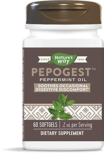 Nature's Way Pepogest Enteric-Coated Peppermint Oil, Gastrointestinal Comfort, 60 Softgels, Pack of 5