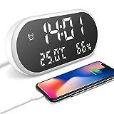 MUTANG Reloj Despertador con Pantalla LED Grande, con Puerto de Cargador USB, Reloj Despertador Digital con Pantalla LED de Alta definición con Espejo, Tiempo/Humedad/Temperatura, 3 ajustes de bri