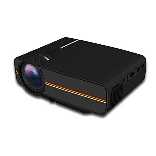 ZYWX 3D Salle Miniature Cinema LED HD 1080P Projecteur Portable Mini Noir Blanc,Black