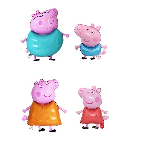our fantasy time der Märchenland,4set Peppa Pig Familie Luftballon, XXL super Süß , Helium Ballons, Deko Luftballon, Aluminiumfolie Ballons.