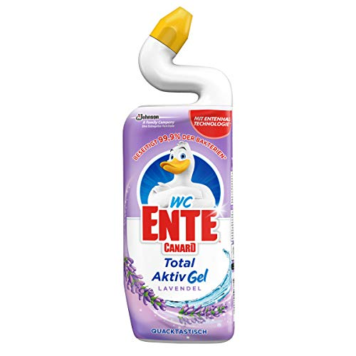 WC-Ente Total Aktiv Gel, Flüssiger WC-Reiniger, Toilettenreiniger, Lavendel (Duft der Provence), 12 x 750 ml