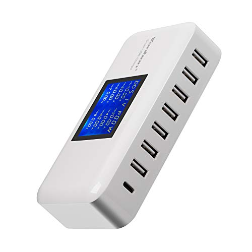 USB C Charger, 68W 8-Port Desktop USB Charger Charging Station with One 18W Power Delivery Port W/LCD Display for iPhone Xs/XS Max/XR/X/8, Galaxy S9 S8, iPad Pro 2018 and More