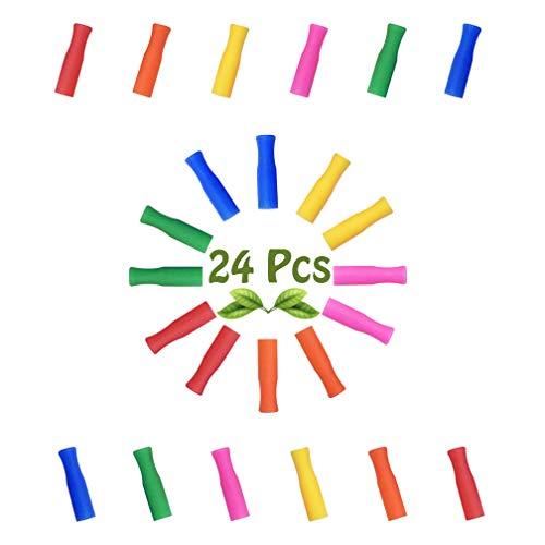 Very'tea – 24 puntas de silicona multicolor para pajitas reutilizables de acero inoxidable o cristal, juego de 24 tapas de 6 mm de diámetro, para bebidas calientes y frías – adultos y niños