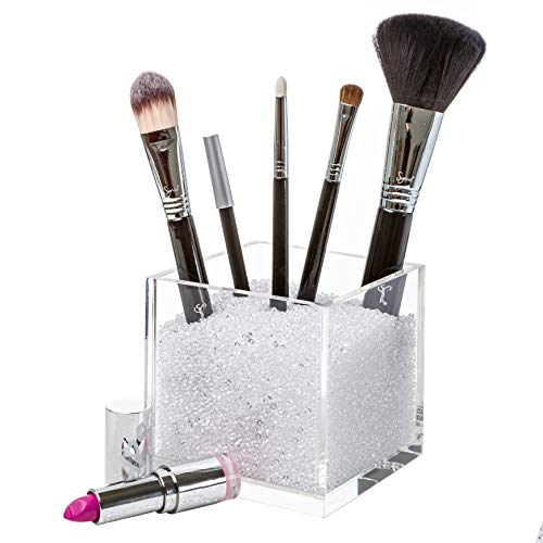 Pretty Display Luxury Acrylic Makeup Brush Holder with Clear Diamonds: Countertop Cosmetic Organizer Cube. Includes Over 50,000 Sparkling Rhinestone Crystal Beads to Organize Your Brushes Beautifully