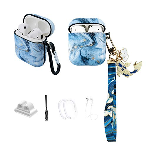 MOLOVA Case for Airpods 1&2 Case, Ice Blue Marble with Koi Fish Airpods Hard Protective Cover Shock...