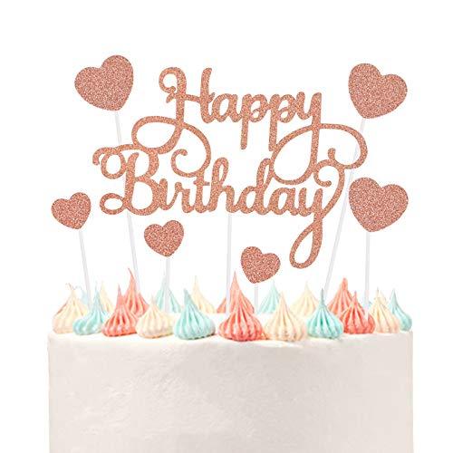 VAINECHAY Party Kuchen Dekoration Supplies Cake Topper Happy Birthday Girlande Tortendeko Geburtstag Golden Mädchen Junge Cupcake Toppers Herz,Rosegold