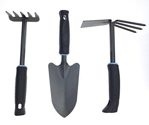 SunLive Garden Tool Set Rustless Best for Digging & Planting Including Digging Shovel/Cultivator Hand Rake/Double Hoe (Garden Tool Set(3pcs))