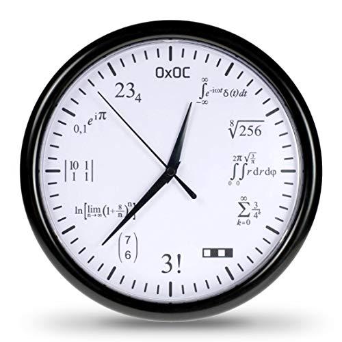 getDigital Matheuhr Wand Mathe-Uhr-Verschlüsselte Wanduhr mit vielfältigen Mathematik Aufgaben-Kreativer Geschenk-Artikel im eleganten Design, Weiß