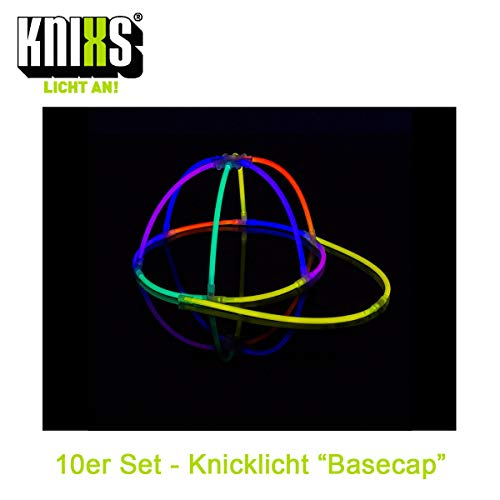 "KNIXS 10 Stück Set - Knicklicht Basecap / Base Cap im 5-Farb-Mix Leuchtend, Testnote 1,4 \""sehr gut für Party, Festival, Junggesellenabschied, Fasching oder Karneval"