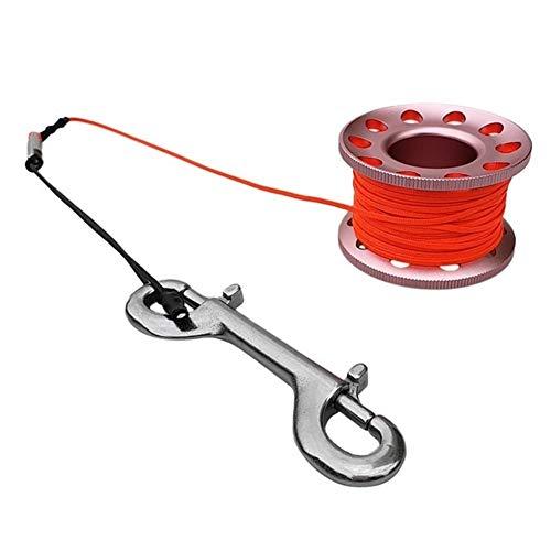 fried Kleine kompakte Fingerspule zum Tauchen, 15 m Schnur, Sicherheitsclip für Ausrüstung, Gummi (Farbe: Orange)