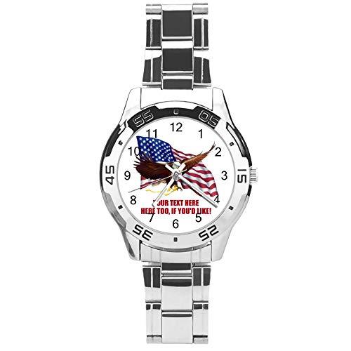 Klassische Quarzuhr mit drei Zeigern und Edelstahl-Armband, Zifferblatt Amerikanische Flagge fliegender Adler, verstellbares automatisches Armband, Silber, für Unisex, ideales Geschenk (41 mm)