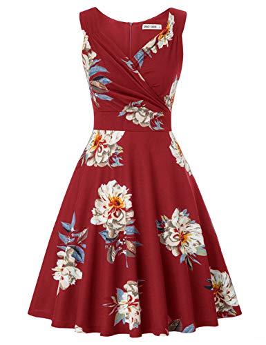 Women's Floral 60s Vintage Dress Wedding Guest Dress Size M CL2811-2