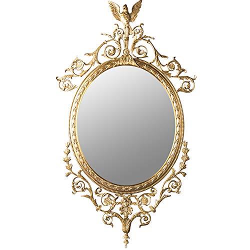 Z-Mirror Espejo de Pared Ovalado clásico Dorado Antiguo Marco de latón con Acento de pájaro en la Parte Superior y decoración de patrón Tallado Sala de Estar Baño Baño Espejo de vanidad Colgante,A