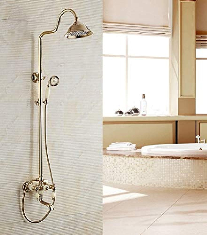 Europische Badezimmer Luxurise Dusche, Verstellbare Dusche Stange, Hand- Und Oben Dusche, Wasserhahn Dusche System Für Dritten Gang