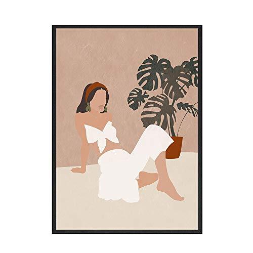 Arte de pared de estilo bohemio abstracto planta de papaya cartel pintura de pared arte sin marco pintura decorativa en lienzo A 60x80cm