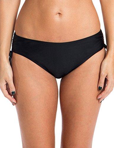 Ocean Blues Women's Swim Standard Adjustable Waist Bikini Bottom, Black, Large