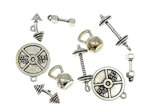 Kinteshun Alloy Fitness Bodybuilding Gym Sports equipments Charm Pendant for DIY Jewelry Making Accessaries(10pcs,Antique Silver Tone)