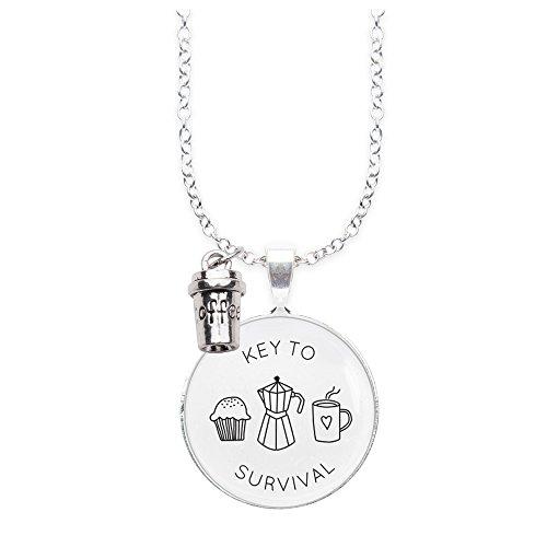 Spruchketten BY LIEBLICHKEITEN Nickelfreie Kette 80 cm mit Anhänger Spruch in 2,5cm großer Glaslinse und Charm Coffee: Key to Survival