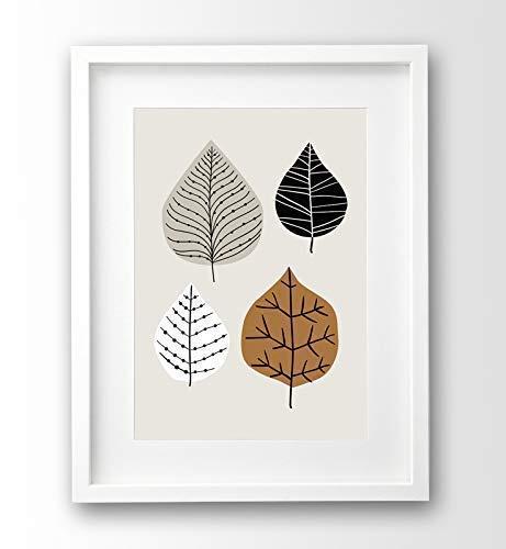 Kunstdruck Blätter retro, A4 ungerahmt, Naturbild, beige und cognac, Illustration Deko skandinavisch