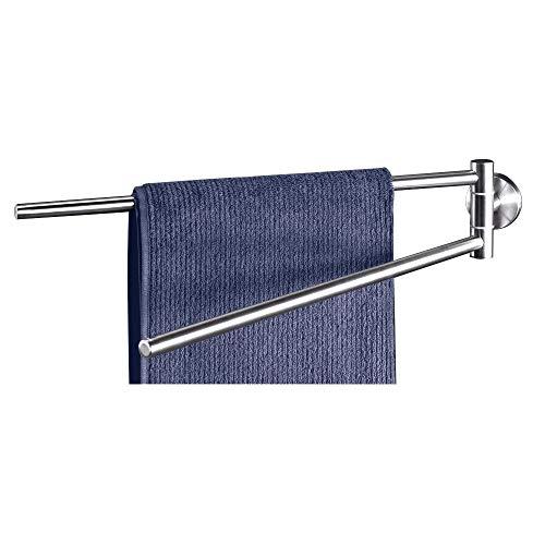 Dailyart Edelstahl Handtuchhalter ohne bohren Handtuchstange mit 2-Arm 180 Grad bewegbar für Wandmontage - Einfache Montage ohne Bohren, 47,3 x 5,9 x 9,3 cm